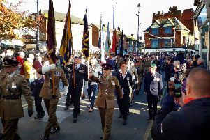 The Remembrance Sunday parade pass down Leicester Street in Melton on Sunday EMN-191111-103201001