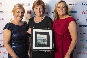 Women in Business Chair Nichola Robinson with Wilma Erskine, Special Recognition Award for Lifetime Achievement, Women in Business CEO Roseann Kelly