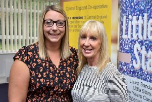 Laura Sanders (left) owner and manager of Little Stars Nursery and Karen Bevan, member and community relations officer at Central England Co-operative, which sponsored the event PHOTO: Supplied