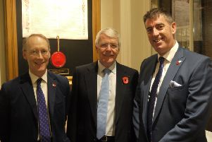 Sir John Major (centre) with trustees' chairman John Chatfeild-Roberts (left) and chief executive Darren Bicknell EMN-191126-115632002