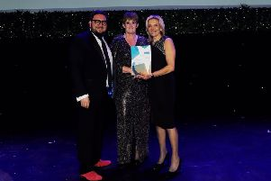 The award for 'Best Activity' at the Leicestershire Promotions Tourism and Hospitality Awards, is presented to Brockleby's in recognition of their Ultimate Pie Making Workshop - from left: sponsor Ed Pereira (Pear Communications),  Clare O'Donnell (the host of the Brockleby's Pie Making Experience) and Amanda Jalland (business development manager at Brockleby's) EMN-190312-164928001
