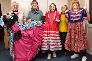 Sarah Bysouth, Jean Parkes and Jill Fenby-Taylor, who have been making costumes for Whissendine pantos for a combined 70 years, with two of the young actors in the cast, Shannon Quinn and Katie Dear EMN-190912-163502001