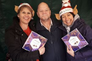 Alun Hodges with Melton Elves Shelagh Core and Nikki Kirk PHOTO: Tim Williams