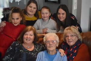 Five generations of a Melton family gather, from left, top row - Keira Ison, Lisa Ison, Layla Ison and Kathryn Ison; bottom row - Lorraine Higgins, Kathleen Devereux and Linda Padmore-Cotton EMN-191217-121713001