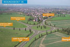 A computer-generated drone flight over the proposed Melton Mowbray Distributor Road (MMDR) showing where the road would end, at a new junction with the A606 Burton Road EMN-200201-182232001