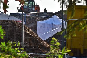 Police have set up a forensic tent on a building site at the former Catherine Dalley House nursing home in Melton'PHOTO TIM WILLIAMS EMN-200801-135847001