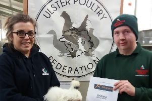 Ulster Poultry Federation commitee members Keira McGarry and Mark Graham discuss final arrangements for the Ulster Poultry Federation Championship on Saturday 1st February.