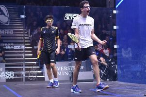 Abd-Allah Eissa releases his emotions in the under-13 final of the British Junior Open. Picture: Steve Cubbins