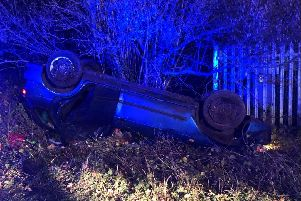 A car 'rolled' off a carriageway last night. Picture courtesy of PC Tom Van Der Wee