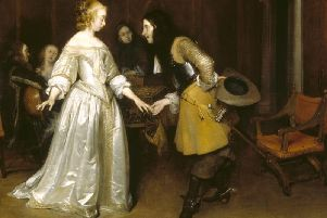 Gerard ter Borch . An Officer making his Bow to a Lady . 1660-64 . Polesden Lacey