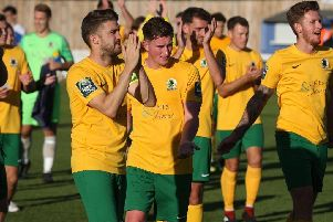 Horsham full-back Steve Metcalf grabbed a dramatic injury-time equaliser against Hastings United. Picture by John Lines