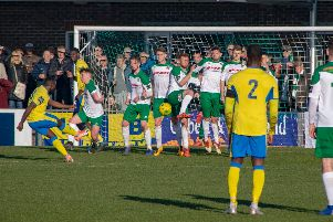 The Rocks try to defend a Haringey free kick / Picture by Darren Crisp