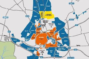 Proposed Chichester Parking Management Plan. WSCC consultation 01-03-19. Blue areas mark new controlled parking zones. Orange areas are existing CPZs.