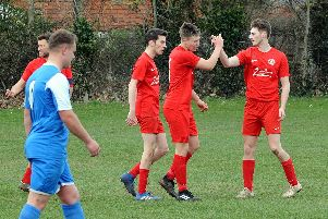 Mutual respect for scorer George Briance from team-mates Alex Jarrom and Ben Metherell / Picture by Kate Shemilt