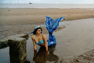 Laura Hudson - aka Mermaid Twinkle - pictured on Skegness beach.