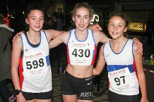 The top three in the secondary school girls' race / Picture by Derek Martin