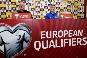 Northern Ireland Press Conference 'Manager Michael O'Neill and Steven Davis