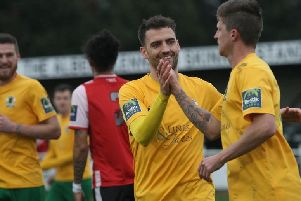 Greenwich Borough v Horsham. Chris Smith is congratulated by Jack Brivio. Picture by John Lines