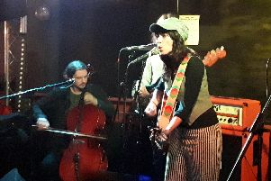 Nicole Atkins at The Edge of The Wedge, April 10, 2019. Seated on left playing the cello is Caleb Elliott, who was also the support act. Picture by Chris Broom