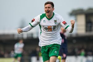 James Crane celebrates a Rocks goal against Dulwich Hamlet in 2017 / Picture by Tommy McMillan