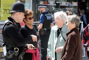 Arun and Chichester prevention team acting inspector Danny West speaking to the public in Bognor Regis town centre last month. Photo: Kate Shemilt