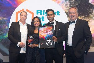 Kev Popat and Amy Patel Popat who set-up a franchise of Right at Home care providers, who provide care to people in Fareham, Gosport, Southampton and the New Forest,who are celebrating their successful year.