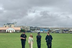 Insp Ed Ripley with Sussex PCC Katy Bourne and a member of the team on patrol in Newhaven