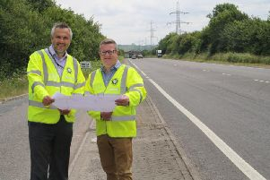 Mark Shaw and Kevin Allen with plans for Wendover bypass resurfacing