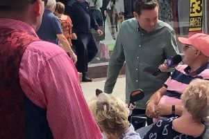 Stephen Mulhern pictured filming in Bognor's town centre. Photo: Jodie Day