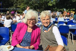 Dame Julie Walters at Kirdford and Plaistow Primary School for a celebration of its 150th year, with former pupil Christine Stanton.