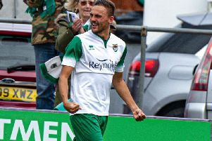 Jimmy Muitt after scoring the all-important second goal / Picture by Tommy McMillan