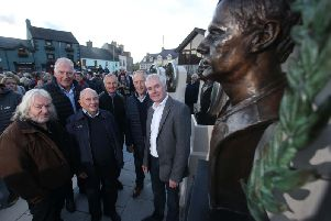 Pictured with 'Dromara Destroyers' Ian McGregor, Brian Reid, Ray McCullough and Trevor Steele are Bill Kennedy, Armoy Clerk of the Course, and former Armoy Armada member Jim Dunlop. Picture: Steven McAuley/McAuley Multimedia