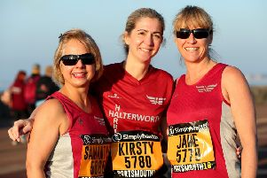 Sam Donald, Kirsty Stickly and Jane Vennik ahead of the Great South Run 2018. Photo: Chris Moorhouse