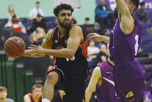 Hemel Storm's Blayne Freckleton hit five three-pointers on Sunday. (Picture by Lin Titmuss).