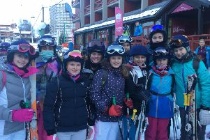 Members of the Burgess Hill Girls junior and senior ski teams