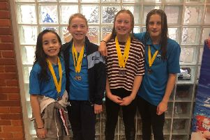 Charlotte Parvin, Kirsten Abrams, Constance Logan and Amelia Roberts - Mid Sussex Marlins record-breaking relay team
