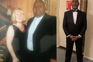 Paul's dramatic transformation. Left - with his wife, Rhonda, two years ago. Right - New Year's Eve, 2018