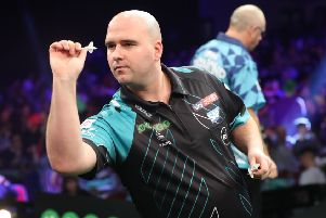 Rob Cross in action at last year's Masters tournament. Picture courtesy Lawrence Lustig/PDC