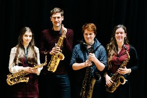 Jonathan Radford with saxophonists Sam Medwell, Alice Dukes and Isabelle Tucker