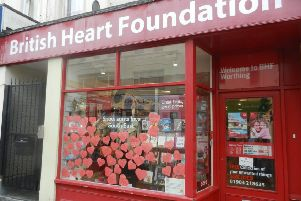 Love note at the British Heart Foundation charity shop in Chapel Road, Worthing
