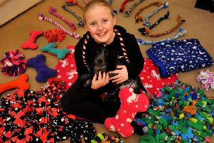 Maisie is selling handcrafted dog toys to raise money for mental health services. Photo by Steve Robards