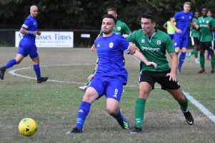 Action from July's pre-season friendly between Burgess Hill Town and Haywards Heath Town at the Green Elephants Stadium. Picture by Grahame Lehkyj.