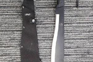 The knife seized in Crawley this morning (February 16)