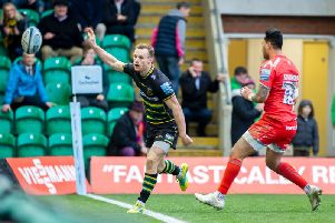 Rory Hutchinson scored for Saints and celebrated by throwing the ball into the crowd in delight (pictures: Kirsty Edmonds)