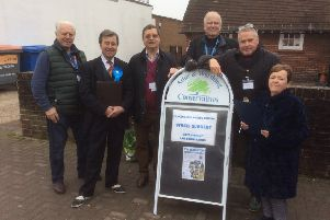 Members of the Adur and Worthing Conservatives collecting signatures for the petition at Lancing market