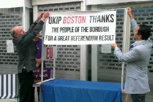 Brexit campaigners in Boston saying thank you to the voters who supported them. ANL-190216-195618001