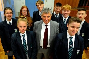 Students at The Burgess Hill Academy  received a presentation and talk by David Dein, former vice-chairman of Arsenal Football Club and former vice-chairman of the Football Association.'Pic Steve Robards SR1904819 SUS-190403-111130001