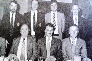 Members of the Ballymena Referees Association pictured at their annual dinner. 1989