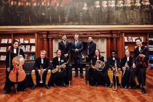 CH musicians with Alex Hodgkinson (director of music), Simon Reid (headmaster), and Fabio Sarlo (orchestra manager, ECO)
