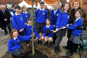 St Lawrence C Of E Primary School is celebrating its 150th birthday with a tree planing by actor Judy Parfitt.  Pic Steve Robards. SR1906417 SUS-190803-164511001